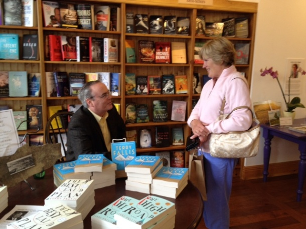 Terry Fallis with a fan at his recent book signing.