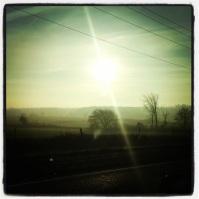 Early morning sun on a crisp November morning.