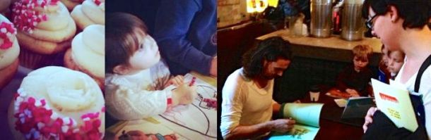 The beautiful cupcakes, the charming children (with penguins!) and Oliver Jeffers signing my friend Sarah's books :-)