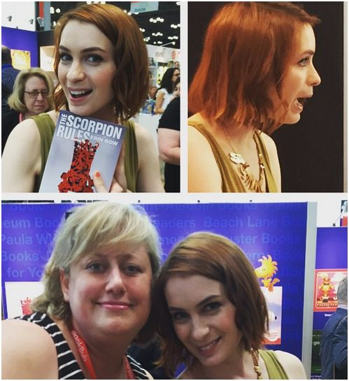 The fab Felicia Day at BEA 2015 - clockwise, from top left holding a copy of Erin Bow's Scorpion Rules, talking to fans, graciously agreeing to a selfie!